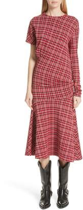 Calvin Klein Tartan Asymmetrical Dress