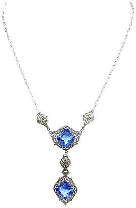 One Kings Lane Vintage 1920s Chromium Filigree Pendant Necklace - Little Treasures