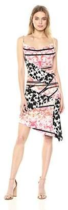 Nicole Miller Women's Stamped Paisleys Cowl Neck Dress