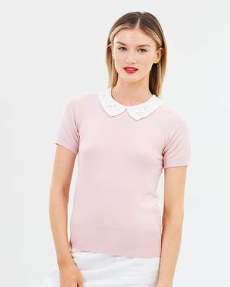 Dorothy Perkins Lace Collar Knitted T-Shirt