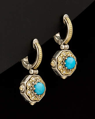 Konstantino Hermione 18K & Silver 1.80 Ct. Tw. Diamond & Turquoise Earrings
