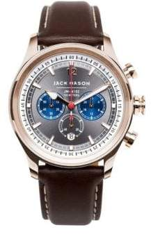 Jack Mason Nautical Chronograph Leather Strap Watch