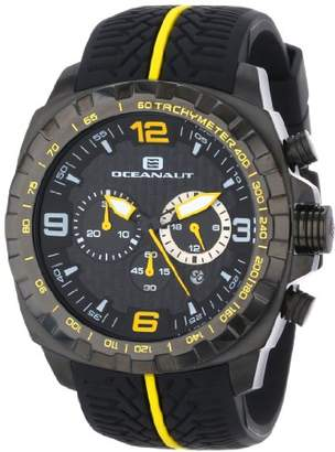 Oceanaut Men's OC1124 Racer Chronograph Stainless Steel Watch with Yellow-and- Tire-Tread Band