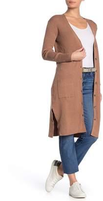 HIATUS V-neck Front Button Ribbed Knit Cardigan