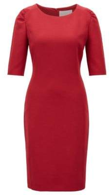 BOSS Hugo Half-sleeve shift dress in stretch twill 12 Dark Red