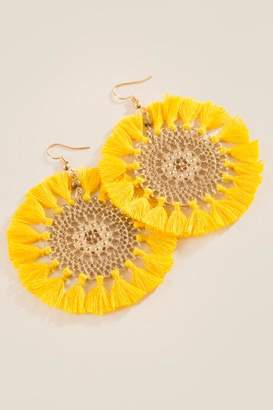 francesca's Jen Filigree Circle Tassel Earrings - Marigold