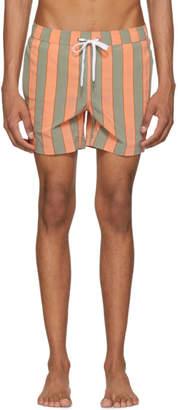 Onia Orange and Green Striped Charles Swim Shorts