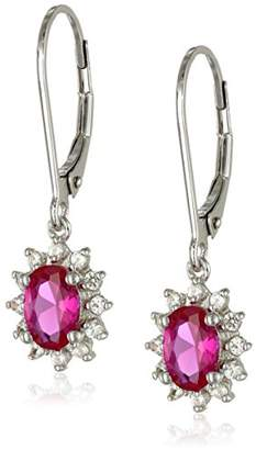 Sterling Silver Created Ruby and Created White Sapphire Dangle Earrings