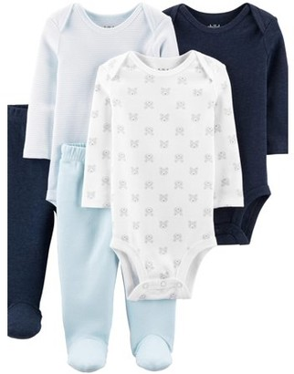 Carter's Child Of Mine By Long Sleeve Bodysuits & Pants, 5pc Outfit Set (Baby Boys)
