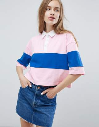 Pull&Bear color block polo shirt in pink