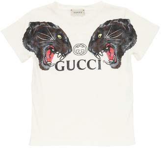 Gucci Panther Print Cotton Jersey T-Shirt