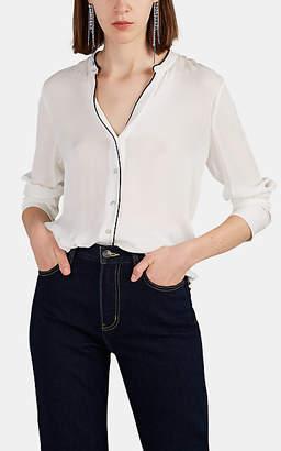 L'Agence Women's Tegan Banded Collar Silk Blouse - Ivorybone
