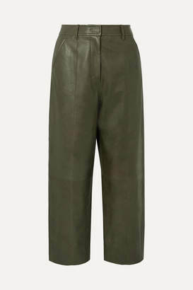 Jason Wu Fatigue Cropped Paneled Leather Straight-leg Pants - Army green