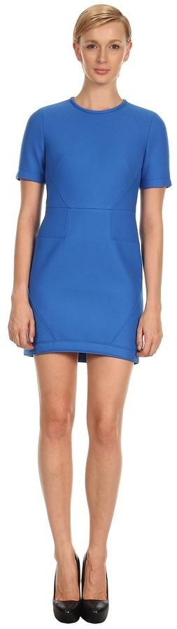 Tibi Bonded Techy Twill S/S Dress (Ultramarine) - Apparel