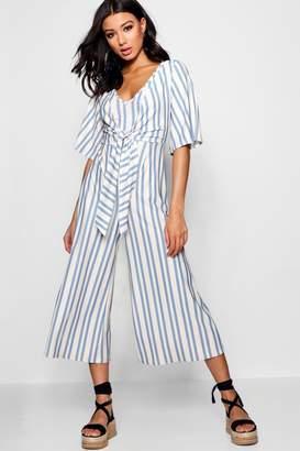boohoo Tie Front Wrap Culotte Jumpsuit