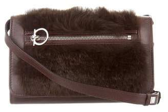 Salvatore Ferragamo Fur-Trimmed Crossbody Bag