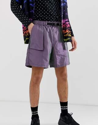 Asos Design DESIGN slim utility shorts in iridescent fabric with belt