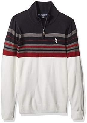 U.S. Polo Assn. Men's Multi Stripe 1/4 Zip Sweater