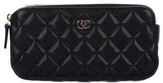 Chanel 2018 Quilted Double Zip Clutch