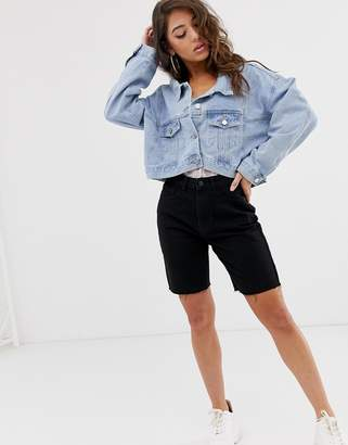 Missguided cropped denim jacket in blue wash