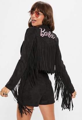 Missguided Black Faux Suede Barbie Logo Fringe Biker Jacket
