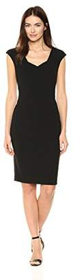 Calvin Klein Women's Solid Cap Sleeved Sheath with Square Neckline Dress