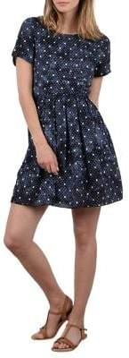Molly Bracken Anchor-Print Short-Sleeve Mini Dress