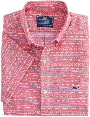 Vineyard Vines Short-Sleeve Fish Hook Wave Classic Tucker Shirt