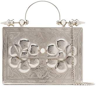 Okhtein silver Palmette Minaudière embossed metal and leather cross body bag