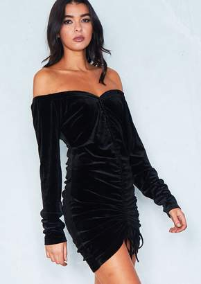 d99566fcfa867 Missy Empire Missyempire Leonie Black Velvet Bardot Ruched Bodycon Dress
