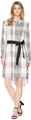 Vince Camuto Long Sleeve Oversized Plaid High-Low Belted Dress Women's Dress