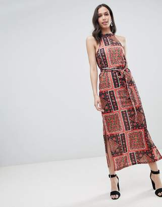 Asos DESIGN scarf print maxi sundress with belt