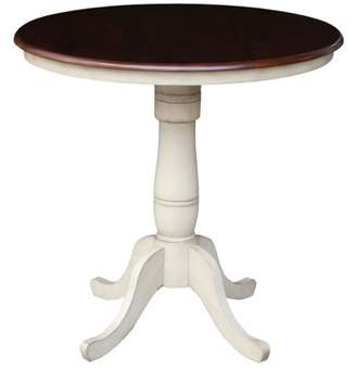 """INC International Concepts 36"""" Round Top Pedestal Counter Height Table, 34.9""""H in Antiqued Almond/Espresso"""