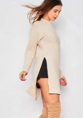 Missy Empire Missyempire Kalli Beige Ribbed Knit Side Split Jumper
