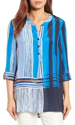 Women's Nic+Zoe Blue Blocks Silk Blend Top $158 thestylecure.com