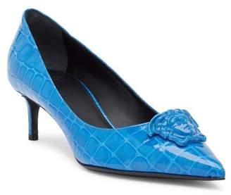 Versace Croc Embossed Medusa Kitten Heel
