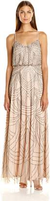 Adrianna Papell Women's Spaghetti Strap Beaded Blouson Gown, Taupe/Pink