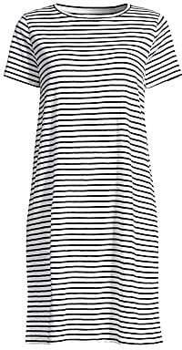 b083dab2932cd Eileen Fisher Women's Organic Linen Jersey Striped T-Shirt Dress