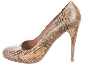 Alaia Lizard Round-Toe Pumps