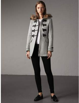 Burberry Wool Duffle Coat with Detachable Fur Trim
