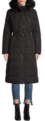 MICHAEL Michael Kors Maxi Hooded Faux Fur Trim Coat
