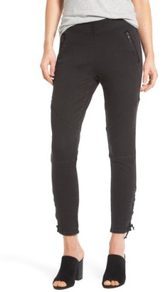 Women's Trouve Lace-Up Denim Leggings $89 thestylecure.com