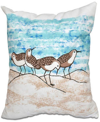 E By Design Sandpipers 16 Inch Aqua and Taupe Decorative Coastal Throw Pillow