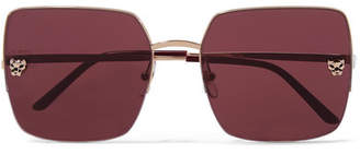 Cartier Eyewear - Panthère Square-frame Gold-plated Sunglasses - one size