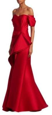 Badgley Mischka Women's Off-The-Shoulder Ruffle Gown - Ruby - Size 0