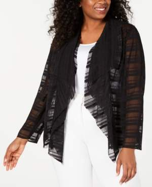 Alfani Plus Size Waterfall Mesh Jacket, Created for Macy's
