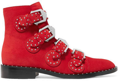 Givenchy - Studded Suede Ankle Boots - Red