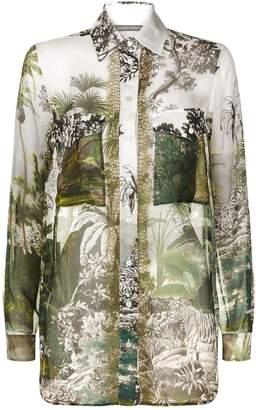 Alberta Ferretti Jungle Print Silk Blouse