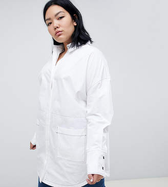 Asos Curve oversized shirt with contrast stitching