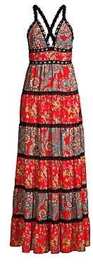 Alice + Olivia Women's Karolina Paisley Tiered Maxi Dress
